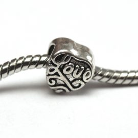 Kovova koralka – LOVE – na naramky v style Pandora