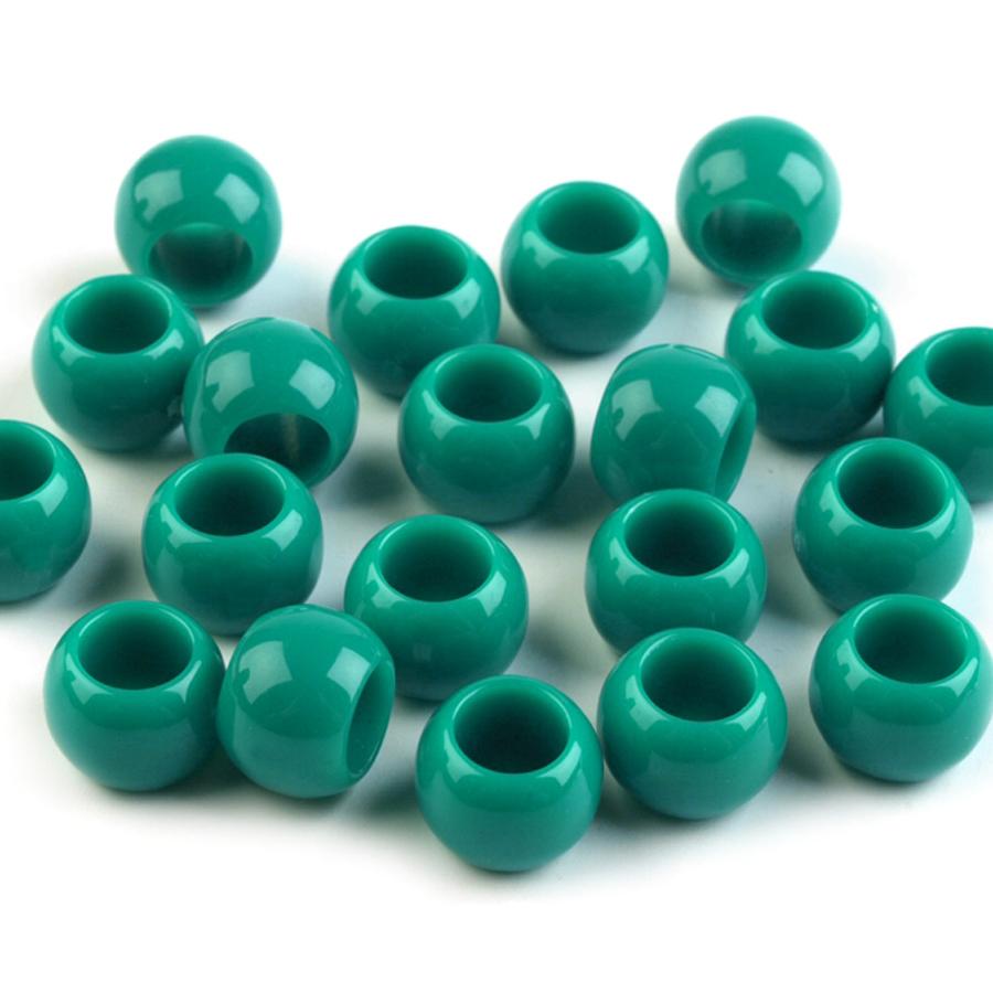 Plastove-koraliky- s veľkym- prievlakom 7x 10-zelene